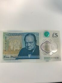 5 £ note with AK57 sequence , rare