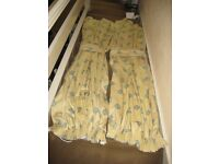 Pair of Patterned Polyester and Cotton Lined Curtains with Matching Tie-Backs