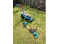 Bosch rotak lawnmower and Bosch strimmer