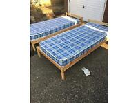 2 kids single pine beds with mattresses