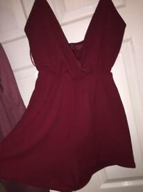 NEVER WORN Boohoo Ladies Maroon/Red Playsuit SIZE 14