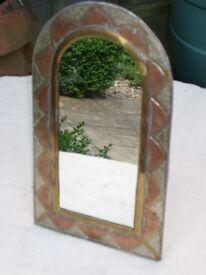 Vintage Small Moroccan Arch Top Brass Mirror