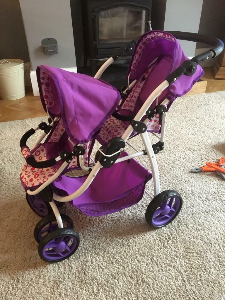 Toy tandem pram, hardly used