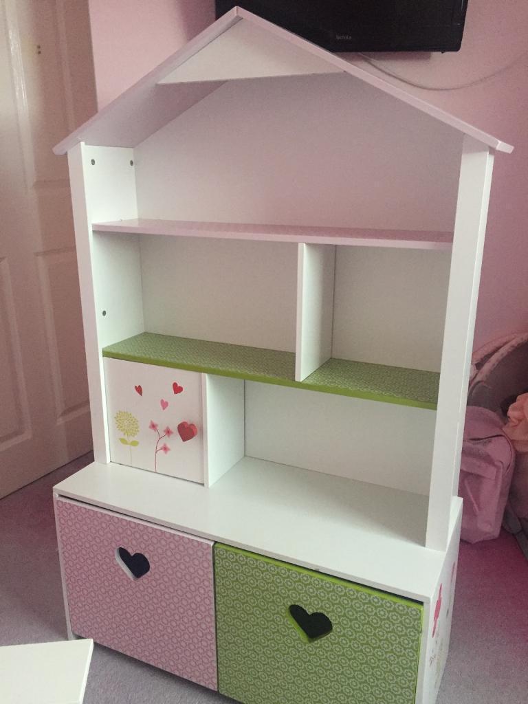 House Shaped Kids Bookshelf Toy Storage Unit