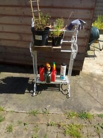 Victoriana towel rail and bath stand for garden display