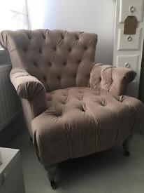 Large coffee cream Velvet Chair