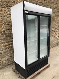 White double display fridge