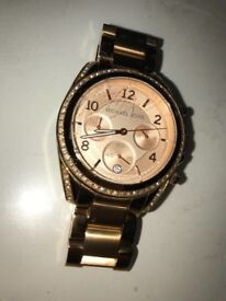 Michael Kors, Rose Gold links watch, diamanté face.