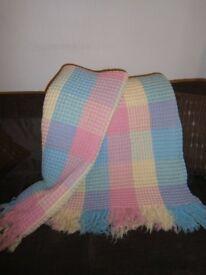 Vintage Welsh Wool Honeycomb Reversible Blanket