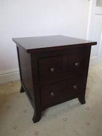 Small good quality heavy dark wood 2 drawer cabinet / cupboard