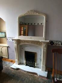 Ornate Fireplace, Marble Hearth, matching mirror and Gas Fire
