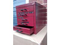 Ryman 5-drawer red metal desk top filing cabinet