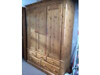 Large solid pine wardrobe