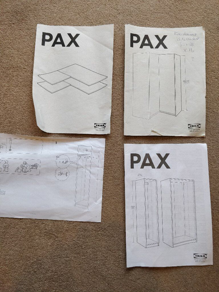2 x IKEA PAX WARDROBES - CORNER UNIT AND SINGLE THIN UNIT WHITE 236cm HIGH  WITH THREE BERGSBO DOORS | in Emersons Green, Bristol | Gumtree