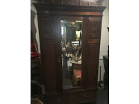 Charming Antique Victorian Mahogany Carved Bevelled Edge Mirror Door Wardrobe with Large Drawer