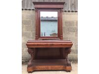 Rare, French Buffet/console, Antique Inlaid With Mirror