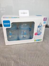 MAM anti-colic bottles in blue