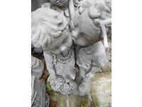 concrete stone boy and girl garden ornament