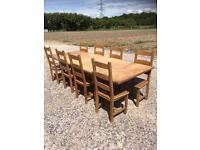 Extending chunky solid pine farmhouse table with chairs. Free delivery.