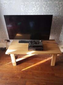 solid oak coffee table/tv stand