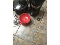 Lot of kitchen items crockpot, coffee machine, iron and plates and bowls