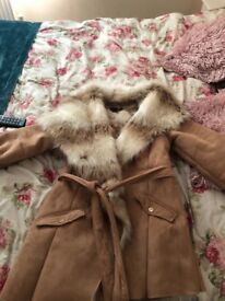 Lipsy Michelle kegan faux suede and fur light tan coat size 10 excellent condition