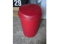 Red 50L Addis Press Top Plastic Waste Bin. (RRP - £20)