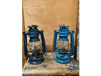 Pair of hurricane lamps