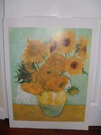 Poster: Sunflowers by Vincent Van Gogh. 80 cm x 60 cm total size with white border.
