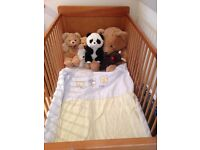Saplings Cot Bed, online4Baby Mattress as new full instructions with bedding. Stow on the Wold