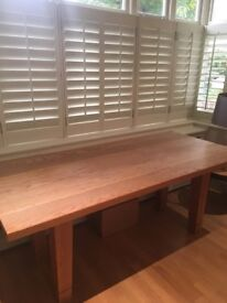 Solid oak kitchen/dining table seats 8, £250