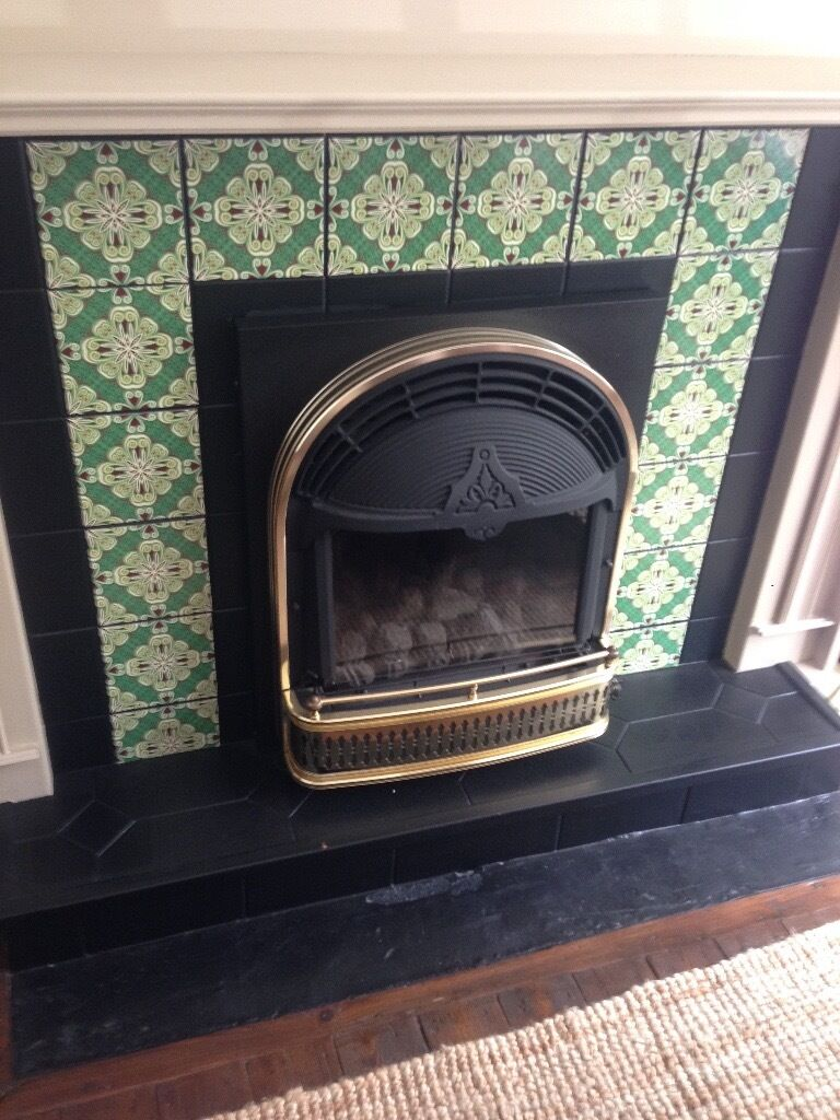 Robinson Willey Romany Gas Fire Black And Gold In