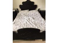 Gothic style king size bed frame with Coolmax memory foam mattress and two matching bedside tables