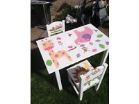 children's ikea table and 2 chairs covered in wall stickers and varnished