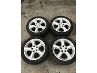 "4 X VAUXHALL ASTRA VECTRA 17"" ALLOY RIMS WHEELS AND TYRES 225/45/17 5 SPOKE -"