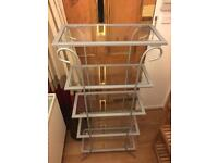 Glass and metal bookcase / shelving unit.