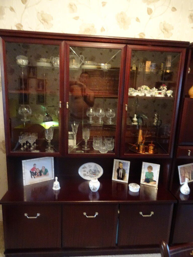 Dinning table,hardwood, extendable,6 chairs including 2 carvers &2 display cabinets