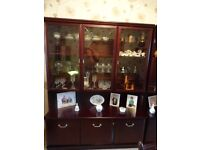 Two hardwood glass dining room unit plus hardwood extendable table, 6chairs includes two carvers