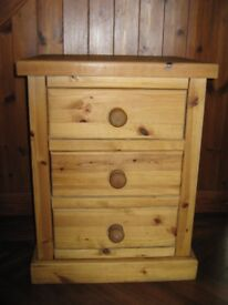 Bedside Cabinet or Small Chest of Drawers - SOLID QUALITY PINE