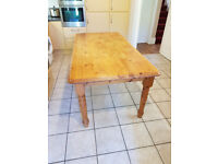 Pine Table with 6 chairs, 6' (1830mm) * 3' (915mm) very good condition. Robust table for family use.