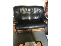 3 + 2 seater leather with wood trim sofas