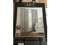 "FREE TO COLLECT Silver '66""x72""' lined ready made blackout curtains BRAND NEW"
