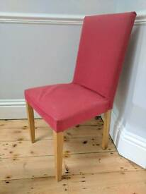 5 x Habitat dining chairs, red cotton covers