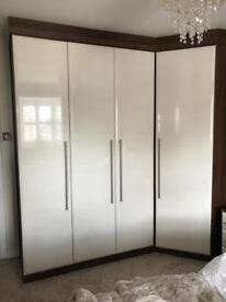 Cream gloss fitted wardrobes