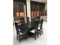 Classic Black Dining Marble Table and 6 Cream Dining Chairs