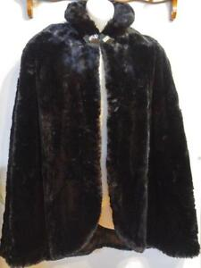 Womens Black Cape Real Fur Sheared Beaver Cloak Wrap Jacket Coat Winter Stole Vintage Retro Supersoft Victorian Art Deco
