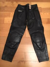 Motorcycle Leather Trousers, helmet and gloves
