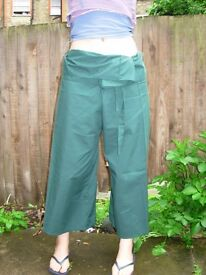 Thai fisherman wrap-around trousers, dark green