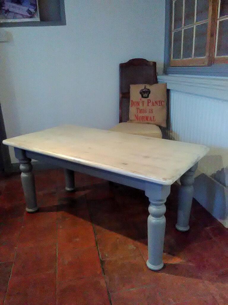 Chunky pine coffee table refurbished