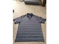 Nike Mens Golf Top, Grey with stripes - Large
